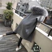 2018新款呢子大衣女中長款韓版大毛領連帽加厚秋冬款學生毛呢外套 挪威森林