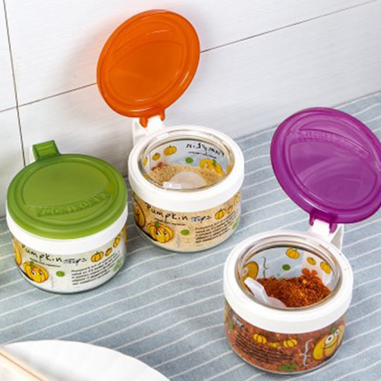 ♚MY COLOR♚南瓜圖案玻璃調味罐 配小勺 廚房 加蓋 調味瓶 粉末 鹽巴 味精 料理 烘焙【G25】