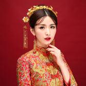 新款古裝新娘頭飾中式發飾套裝結婚紅色飾品秀禾服龍鳳褂配飾