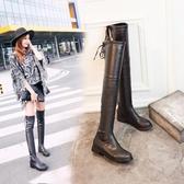 圓頭騎士靴顯瘦過膝長靴 矮跟粗跟靴《小師妹》sm01