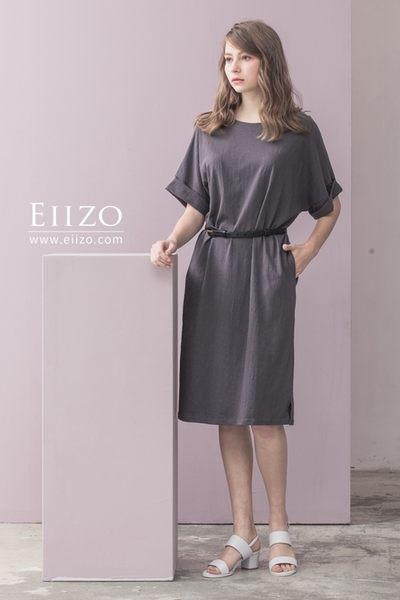 【EIIZO】休閒風棉質口袋洋裝(灰)