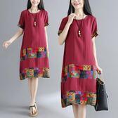 棉麻洋裝連衣裙女裝夏季民族風圓領短袖拼接寬鬆中長裙子 巴黎時尚