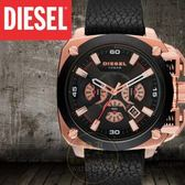 DIESEL國際品牌BAMF超級坦克計時型男腕錶-黑x玫瑰金/56mm公司貨DZ7346/另類設計/禮物
