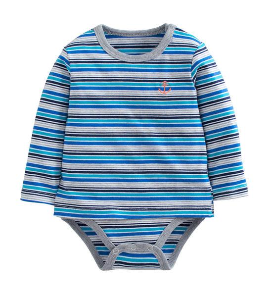 童裝 現貨 雙層純棉拉架假兩件條紋包屁衣-02款淺藍條【27075】