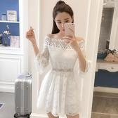 2018夏季新款女裝韓版氣質名媛一字領露肩花邊蕾絲收腰大擺洋裝