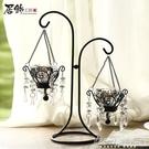 燭台歐式復古浪漫創意鐵藝蠟燭台擺件家居燭光餐桌水晶燭台裝飾CY『新佰數位屋』
