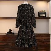 針織毛衣中大尺碼規則氣質波點魚尾連衣裙大碼女裝寬松百搭荷葉邊裙R16.662.1號公館