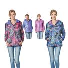 【SAMLIX 山力士】女 兩面穿3D炫彩數位印花羽絨外套(#37416藍紫色.桃紫色)