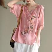棉麻上衣女2021夏季新款復古原創寬松大碼刺繡民族風V領短袖襯衫