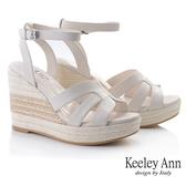 Keeley Ann夏季定番 簡約清新編織楔型涼鞋(白色) -Ann系列