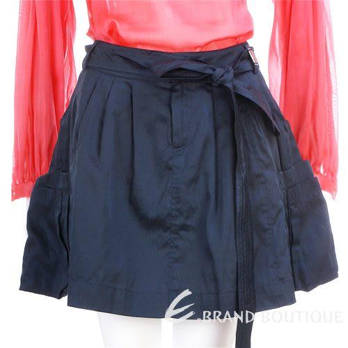 PAOLA FRANI 深藍色口袋短裙(附腰帶) 0820015-34