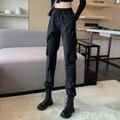 女士工裝褲黑色工裝褲女顯瘦高腰新款秋季帥氣休閒褲寬鬆束腳褲子潮 快速出貨