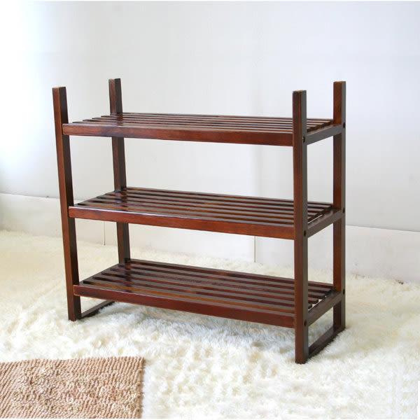 ONE HOUSE-DIY傢俱-實木三層鞋叉架/鞋架/玄關架/鞋櫃