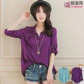 長版襯衫--歐美俐落感壓折裝飾釦長版襯衫(綠.紫XL-5L)-I114眼圈熊中大尺碼