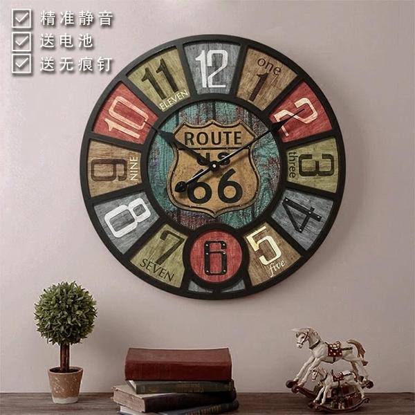 創意美式客廳復古工業風掛鐘咖啡館酒吧服裝店裝飾表掛壁時鐘HPXW