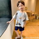 兒童睡衣男童短袖純棉夏季薄款小孩男孩中大童寶寶家居服套裝夏天 快速出貨