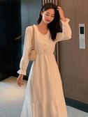 長袖洋裝 白色長袖連身裙女春秋仙女白裙子仙氣超仙森系長款收腰氣質長裙夏 韓流時裳