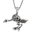 《QBOX 》FASHION 飾品【CKP80023】精緻個性歐美死神骷顱鳥造型鑄造鈦鋼墬子項鍊/掛飾