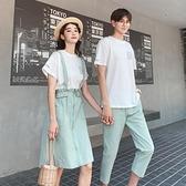 情侶裝ins夏裝裙子2021新款男女短袖T恤背帶連衣裙小眾設計感套裝 【夏日新品】
