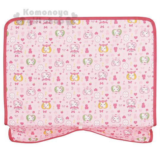 〔小禮堂〕Hello Kitty 可攜式餐墊《粉.多動作.愛心.草莓.鑰匙.40x36cm》 4973307-33018