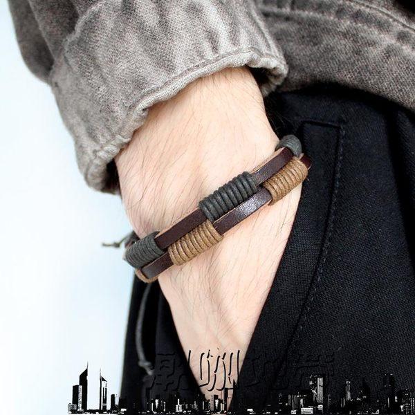 618大促 多層手工編織頭層牛皮手鍊情侶男女百搭個性韓版時尚復古個性手帶