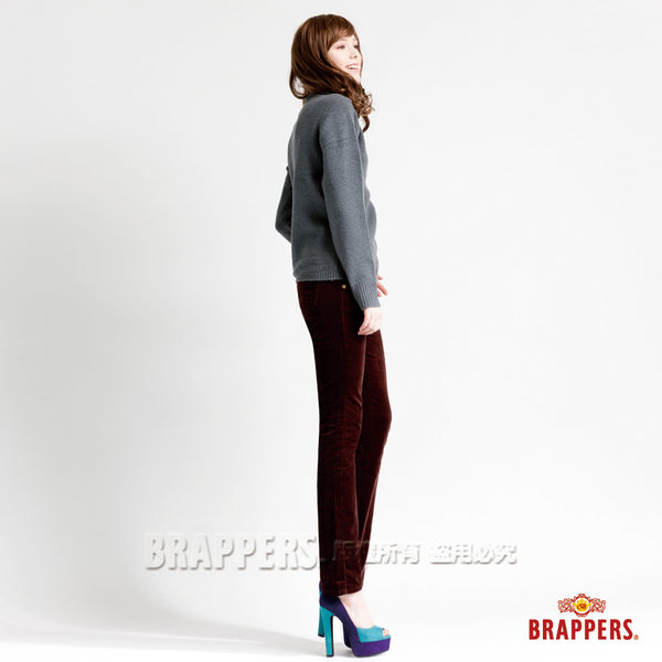 BRAPPERS 女款 新美尻Royal系列-平面絨彈性九分褲-深咖啡