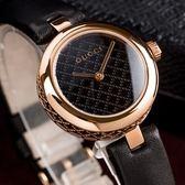 GUCCI Diamatissima 黑面菱格紋真皮金框腕錶/27mm YA141501 熱賣中!