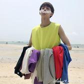 夏裝潮流純色圓領無袖T恤學生寬鬆運動百搭背心艾美時尚衣櫥