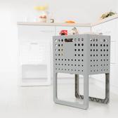 樂嫚妮 多功能可提折疊收納籃/置物籃/洗衣籃-二色灰