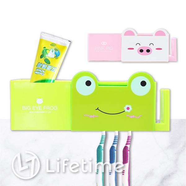 ﹝動物吸盤牙刷架﹞正版 牙刷架 牙膏架 吸盤 居家 浴室 青蛙 小豬〖LifeTime一生流行館〗