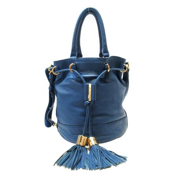 SEE BY CHLOE 藍色牛皮流蘇造型手提肩背水桶包2WAY BAG 【BRAND OFF】