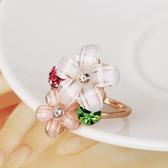 時尚清新水花朵戒子指環女日韓裝飾戒指潮人飾品個性學生食指戒