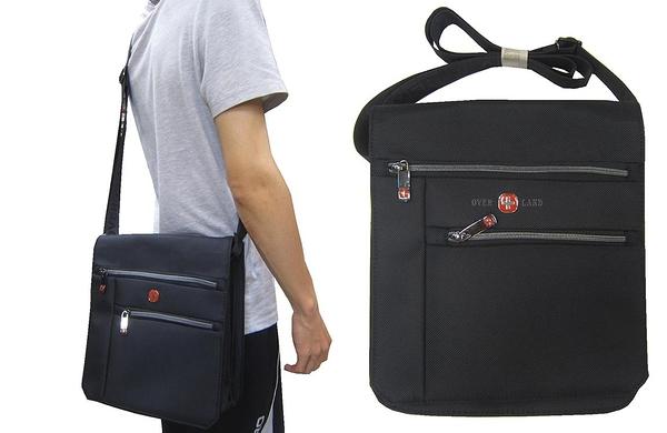 ~雪黛屋~OVER-LAND 肩側包中容量主袋+外袋共七層扁型包設計三層主袋口防水尼龍布材質T5260