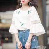 韓版夏裝小清新荷葉邊鏤空蕾絲喇叭袖上衣服學生印花寬鬆短袖T恤-Ifashion