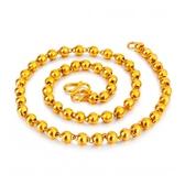 越南沙金項鍊男士實心光面圓珠鍊情侶鍍金項鍊歐幣仿真黃金項鍊女