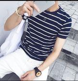 【 】  男士短袖T 恤圓領條紋半袖 修身體恤潮流學生衣服A088