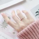 情侶戒指 冷淡風單鑽超細時尚鈦鋼玫瑰金chic極細鑲鑽戒指女食指戒尾戒飾品