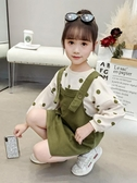 女童秋裝套裝新款兒童背帶裙3春秋季7小女孩9洋氣4歲網紅童裝 俏女孩