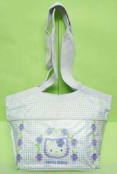 【震撼精品百貨】Hello Kitty 凱蒂貓~手提袋肩背包『紫白格』