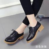 時尚新款小皮鞋英倫女粗跟中跟系帶中跟黑色韓版chic原宿單鞋 qf4882【黑色妹妹】
