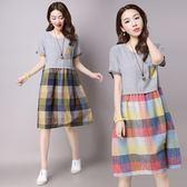 洋裝 連身裙 2017夏裝新款mm女裝民族風寬鬆中大尺碼格子拼接顯瘦短袖襯衫連衣裙