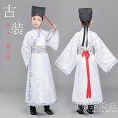 古裝漢服男童國學演出服小學生女童舞蹈服長袖表演服裝書童送帽子