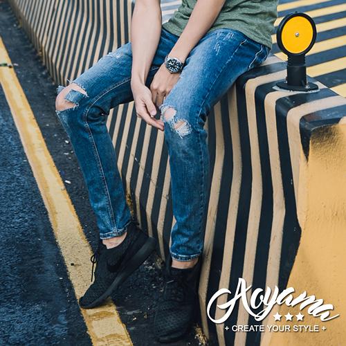 牛仔褲 貓爪破壞刷色彈力單寧牛仔褲【KH8925】青山AOYAMA