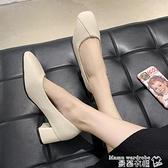 中跟鞋單鞋女2021夏季新款韓版方頭淺口粗跟中跟工作鞋黑色小皮鞋女鞋子  曼慕