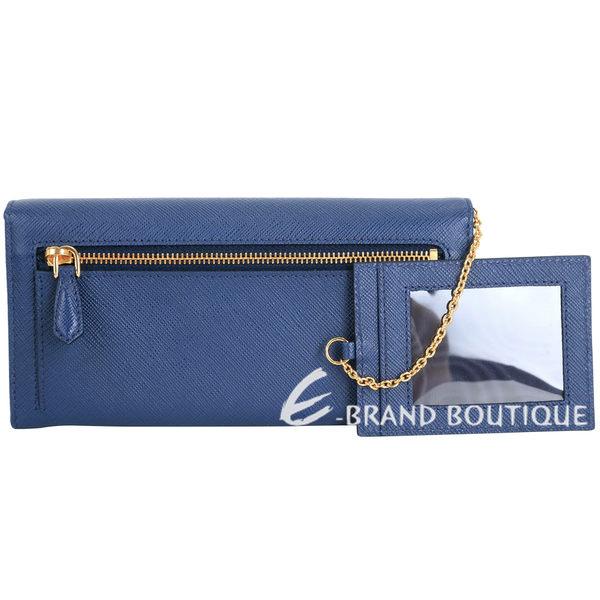PRADA Saffiano 浮刻金字蝴蝶結釦式長夾(藍色/附可拆式證夾) 1630291-34