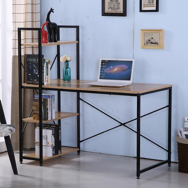 【森可家居】艾美4尺本色黑腳書架型書桌(不含椅) 7JF386-3 L型多功能 工業風 木紋質感
