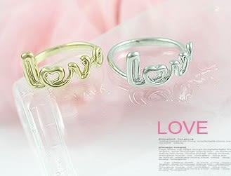 歐美復古鑲鑽愛心LOVE字母雙指環 戒指【B2053】