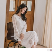 《DA7035》微透膚優雅蕾絲雕花收腰鬆緊長袖長洋裝--適 XL~5L OrangeBear