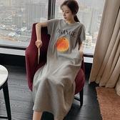 睡裙 莫代爾睡裙女夏季寬鬆短袖長款可愛水果薄款正韓學生孕婦甜美睡衣-Ballet朵朵
