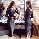 洋裝新款修身v領毛衣打底裙中長款過膝開叉包臀針織連身裙女 歐亞時尚